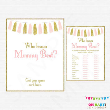 Pink and Gold Baby Shower Games, Who Knows Mommy Best, Baby Shower Printables, Instant Download, Girl Baby Shower, Pink Gold Tassels, TASPG