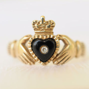 1980's vintage / Diamond and Onyx / Claddagh 9k gold ring // TREASURED