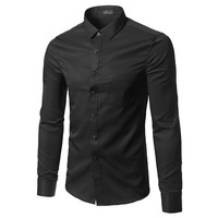 Business Office Work Classical Black Shirts Men Turn Down Collar Long Sleeve Slim Formal Camisa Social Masculina Button Up Shirt