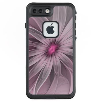 Pink Flower Waiting For A Bee Abstract Fractal Art LifeProof® FRĒ® iPhone 7 Plus Case