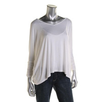 Wyatt Womens Burnout Ruched 3/4 Sleeves Pullover Top