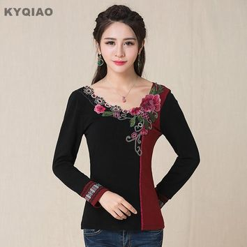 KYQIAO Plus size women clothing vintage 70s ethnic M-5XL black red patchwork v neck long sleeve appliques t shirt women pullover