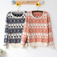 Fashion High Quality Warm Knitted Snow & Reindeer Pattern Women's Woolen Sweater