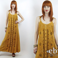 Vintage 90s Light Brown Embroidered Maxi Dress M L Embroidered Dress Hippie Dress Hippy Dress Boho Dress Festival Dress 90s Dress