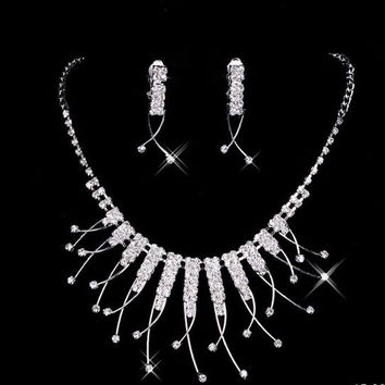 Crystal Bling Drop Point Necklace and Earring Set For Wedding or Prom