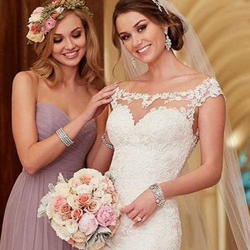 Wedding Dress 2018 New Fashion Design Hand made Appliques Transparent Tulle Button Cap Sleeve Lace Wedding Dress Custom Made