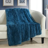 "Chic Home Elana Shaggy Faux Fur Supersoft Ultra Plush Decorative Throw Blanket, 50 x 60"", Teal"
