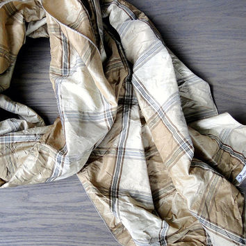 Extra large silk wrap shawl in neutral cream, gold and tan plaid tartan or more colors.