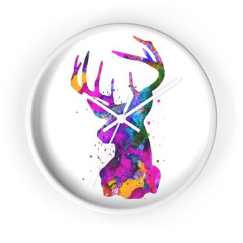 Stag Head Wall Clock