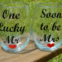 "SET of ""Soon to be Mrs"" and ""One Lucky Mr"" Stemless wine glass - perfect wedding gift, bridal shower, engagement gift"