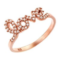 Sterling Silver Rose Gold Plated Love Cz Ring