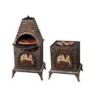 Cast Iron Pizza Oven Wood Fire Smoker Outdoor Grill Cooking Fired Bbq place Pits