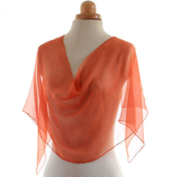 Pink Orange chiffon scarf, naturally dyed scarf, transparent scarf, madder dyed shawl, sherbet coral silk chiffon, christmas gift for her