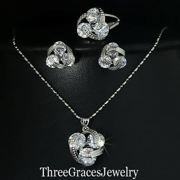 New Fashion 925 Sterling Silver Jewelry Sets Clear Cubic Zirconia Diamond Knot  Earrings Necklace And Ring Set For Women JS124