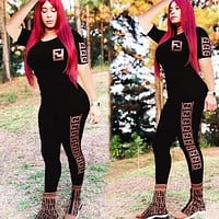 Fendi Fashion New More Letter Print Sports Leisure Top And Pants Two Piece Suit Black