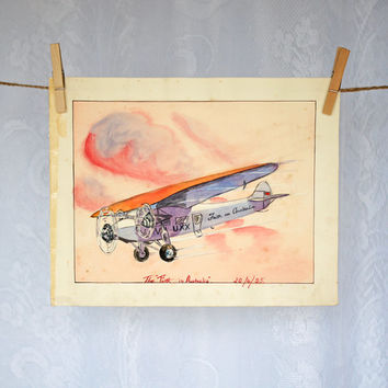 "ORIGINAL Art Print Nursery Decor Unframed Print 1930s Antique Watercolor Painting The ""Faith in Australia"" aeroplane sunset child's painting"