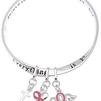 Breast Cancer Pink Ribbon Twist Mobius Bangle Charm Bangle Bracelet Cross Heart Winged Pink Ribbon