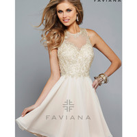 Faviana S7668 Nude Chiffon Embroidered Lace Bodice Dress 2015 Homecoming Dresses