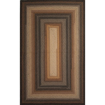 Jaipur Rugs Braided Solid Pattern Taupe/Black Cotton and Polyester Area Rug CBR02 (Rectangle)