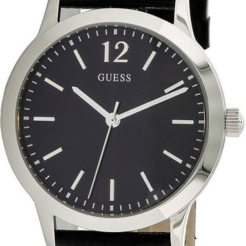 Guess Men's Quartz Black Leather Watch