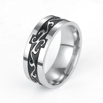 LASPERAL Titanium Stainless Steel Men's Ring Vintage Geomeric Male Ring For Men Wedding Jewelry Silver Color Dragon Pattern Ring