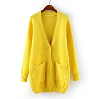 Magic Pieces Woman's V Neck Cardigan with Pockets 080875 Color Yellow