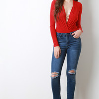 Ankle And Knee Ripped Capri Jeans