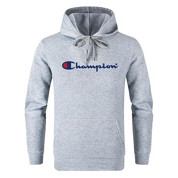 Champion Classic Trenidng Leisure Print Long Sleeve Sweater Pullover Top Sweatshirt Grey