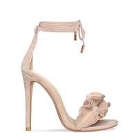 Savana Nude Suede Lace Up Ruffle Heels : Simmi Shoes