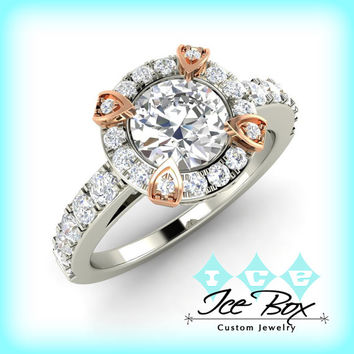 Moissanite Engagement Ring 6mm .75ct Round Forever Brilliant Cut in a 14K White and Rose Gold Diamond Halo Setting