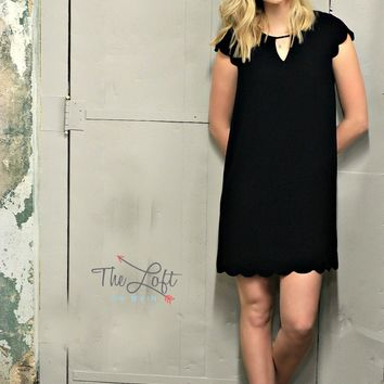 Scalloped Navy Shift Dress