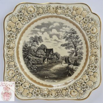 Antique Black English Transferware Square Plate Embossed Cream Floral Border English Cottage / Cropthorne Rural England