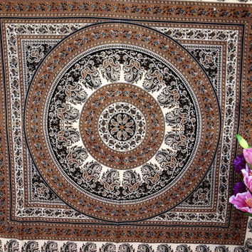 Brown Floral Ancient indian tapestry wall hanging mandala tapestry wall hanging bedspread beach throw