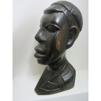 Folk Art African Bust Hand Carved Ebony Sculpture