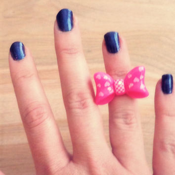 Handmade Heart Print Bow Above the Knuckle / Adjustable Ring