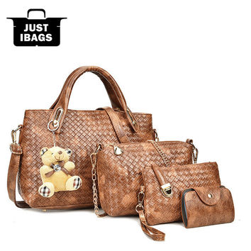 Emboss plaid bag set 4pcs luxury Women handbags Composite/Shoulder Bags 2017 PU leather Vintage Totes Bear Designer chains