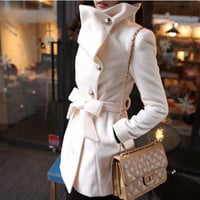 Korean fashion ladys single breasted woolen coats solid color
