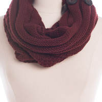 Button Up Infinity Scarf, Burgundy