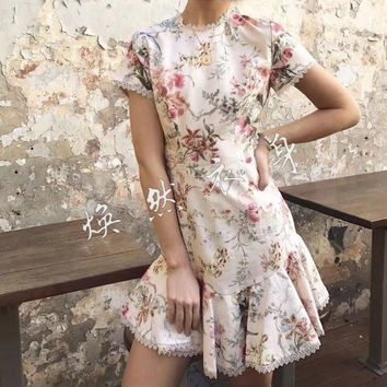 2017 women's casual clothing catwalk show brand fashion design luxury quality cotton linen printed halter short sleeve dress 617