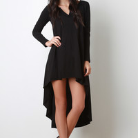 Jersey Knit Long Sleeves Raw High Low Dress