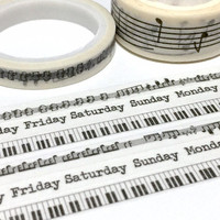 3 rolls music note piano key weekly planner washi tape music theme slim tape masking tape music leaning sticker tape music decor gift