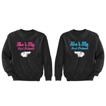 XtraFly Apparel BFF She's my best Friend Valentine's Matching Couples Pullover Crewneck-Sweatshirt
