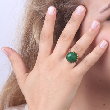 Green Jade Gemstone ring