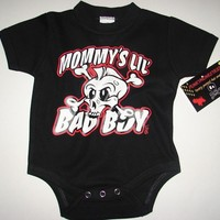 nwt black Onesuit or toddler tee of a mowhak skull with wording mommy's lil bad boy