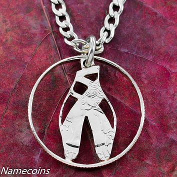 Ballerina Slipper Necklace, Ballet Jewelry, hand cut coin by Namecoins