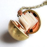Secret Message Locket Necklace Vintage Ball Locket