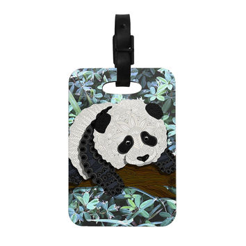 "Art Love Passion ""Panda"" Black White Decorative Luggage Tag"