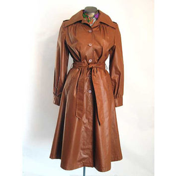 Vintage 60s 70s Trench Coat RainCoat Copper Belted Fitted 40 Bust Polished Cotton