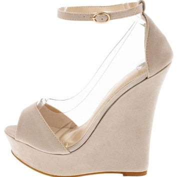 SKYLA NUDE CLEAR WINDOW PEEP TOE WEDGE