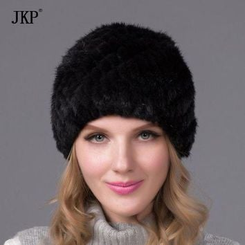 CREYCI7 Guaranteed 100% genuine guaranteed mink fur cap leather cap lady black knitting pea hat hat autumn and winter fashion bone pinea